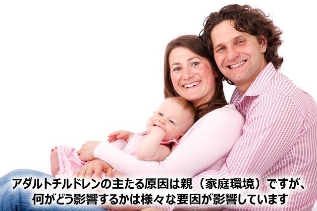 アダルトチルドレンの主たる原因は親(家庭環境)ですが、何がどう影響するかは様々な要因が影響しています